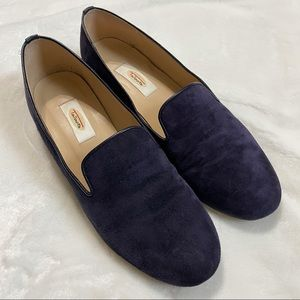 Talbots Navy Blue Suede Loafers Flats 8 Wide